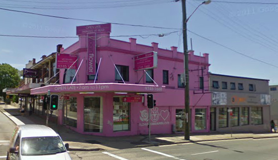 While still all pink...thanks to the few-year time lag of google street view.
