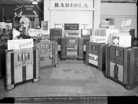 Kriesler radio display, 1938, at Mick Simmons Ltd. Sam Hood photograph from the State Library of NSW collection.