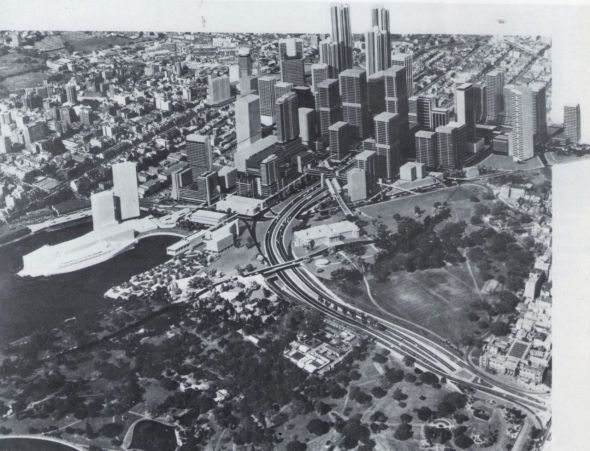 "A 1960s plan for Woolloomooloo. From ""Sydney 1842-1992"" by Shirley Fitzgerald."