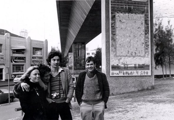 Robin Heks; Merilyn Fairskye, Michiel Dolk,  Tim Maguire, designers and painters of the Woolloomooloo murals. Photo: University of Sydney Archives.