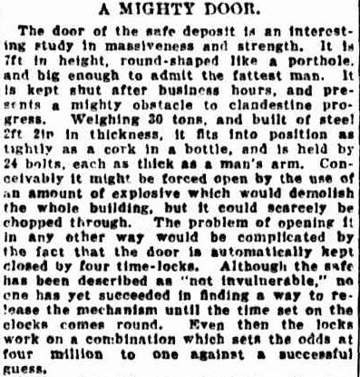 A description of the door from the Sydney Morning Herald, 1929.