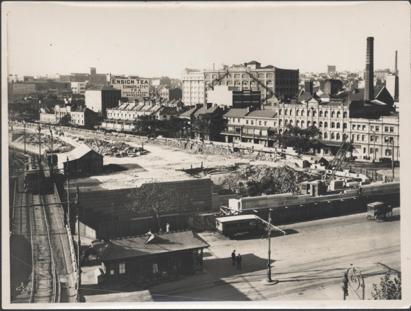 87/1353-4 Photographic print, construction of approach to Central Station for underground railway, silver / gelatin / paper, photograph by the New South Wales Department of Public Works, Eddy Avenue, Sydney, Australia, May, 1923