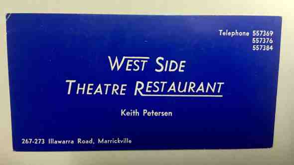 business card for West Side Theatre R