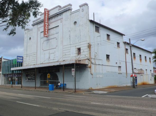 A dilapidated cinema building
